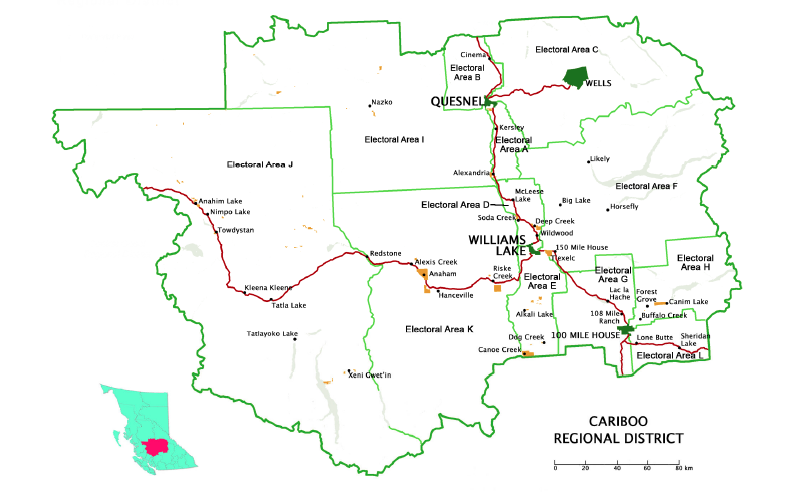Figure 4.2. Cariboo Regional District showing location of Williams Lake