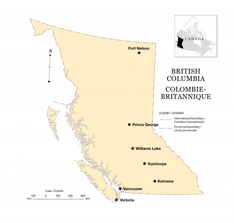 Figure 4.1. Locations of Victoria and Williams Lake