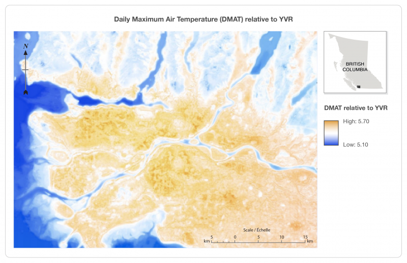 Figure 1: Daily Maximum Air Temperature relative to Vancouver