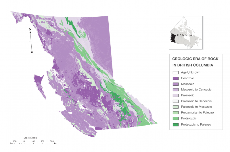 Figure 2. Geologic era of rock in British Columbia