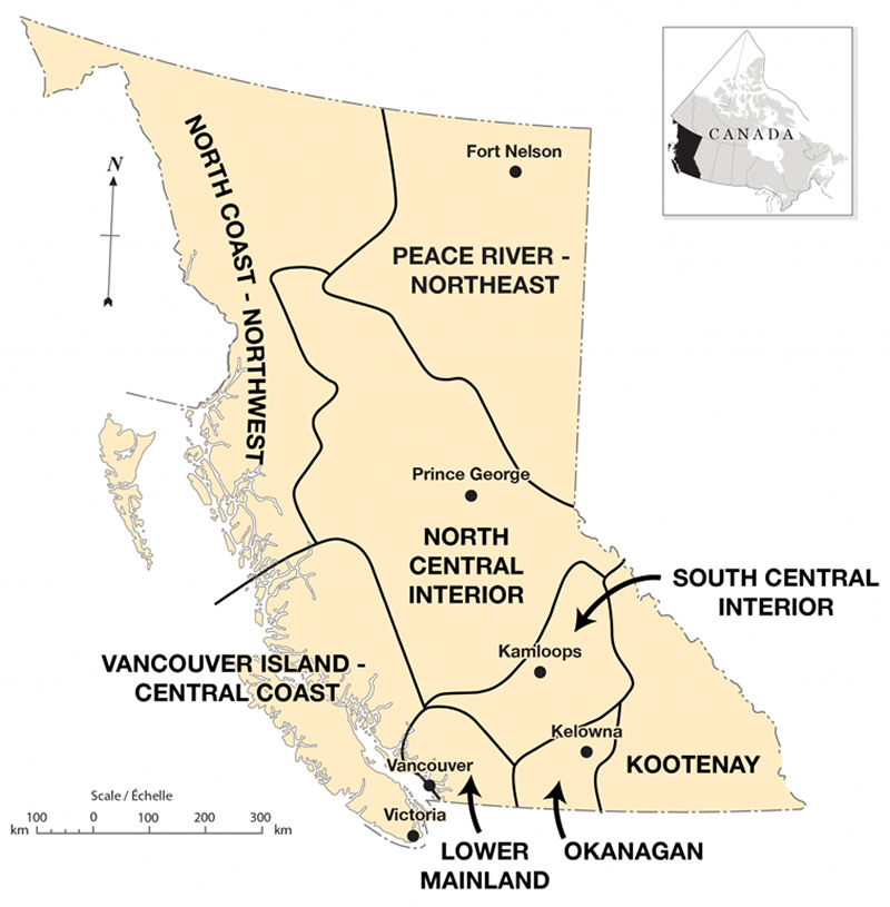 Map of the regions of British Columbia