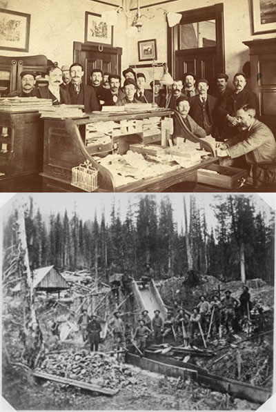 Figure 4.10: (top photo) Miners line up in Custom House Victoria for certificates to mine (bottom photo) miners in the field