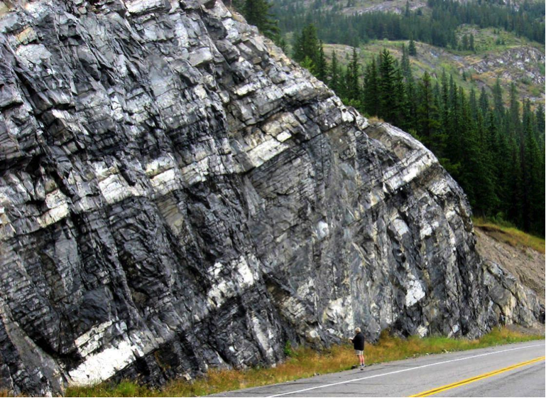 The Triassic Sulphur Mt. Formation near Exshaw, Alberta. Bedding is defined by differences in colour and texture, and also by partings (gaps) between beds that may otherwise appear to be similar.