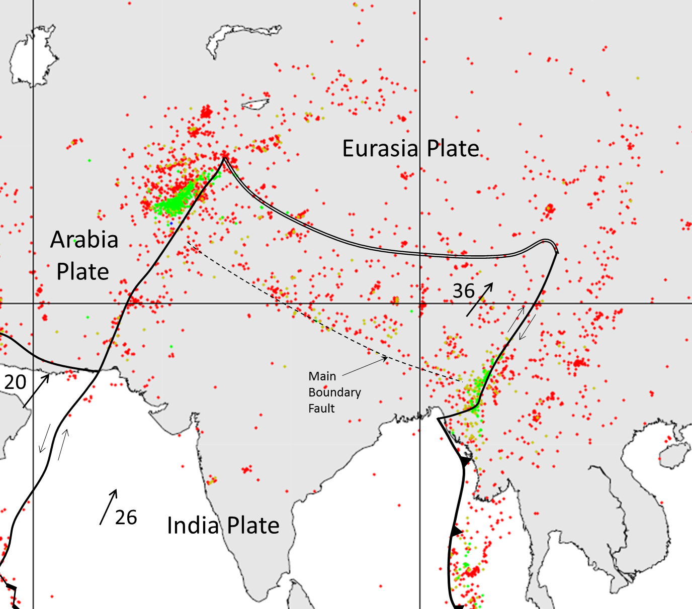 112 earthquakes and plate tectonics physical geology figure 1111 distribution of earthquakes in the area where the india plate is converging with the asia plate data from 1990 to 1996 red 0 33 km gumiabroncs Images