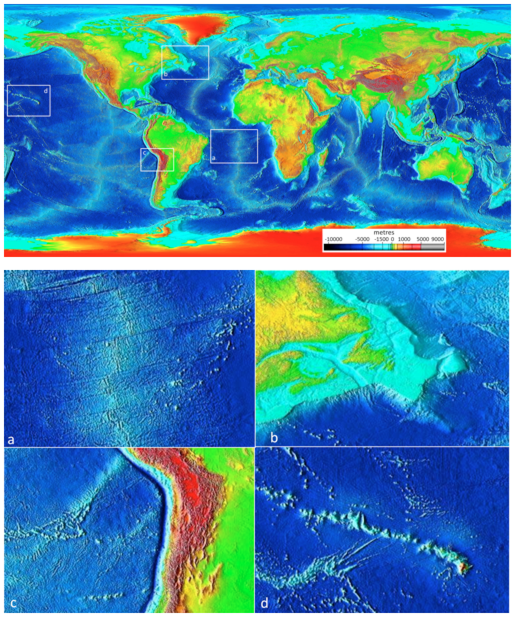 igure 4.9 Ocean floor bathymetry (and continental topography). Inset (a): the mid-Atlantic ridge, (b): the Newfoundland continental shelf, (c): the Nazca trench adjacent to South America, and (d): the Hawaiian Island chain. [SE after NOAA, http://bit.ly/1OtRMc0]