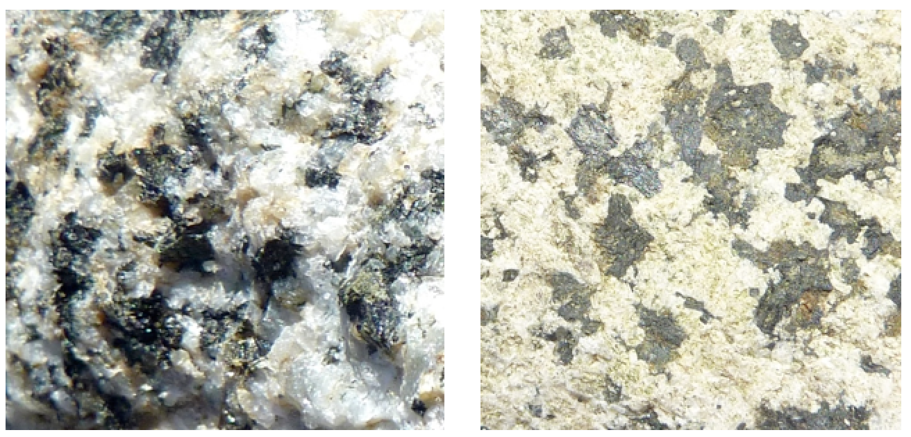 Unweathered (left) and weathered (right) surfaces of the same piece of granite. On the unweathered surfaces the feldspars are still fresh and glassy-looking. On the weathered surface the feldspar has been altered to the chalky-looking clay mineral kaolinite. [Steven Earle CC-BY 4.0]