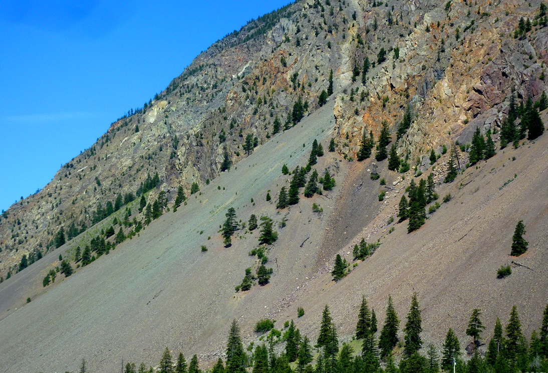 An area with very effective frost-wedging near Keremeos, B.C. The fragments that have been wedged away from the cliffs above have accumulated in a talus deposit at the base of the slope. The rocks in this area have quite varied colours, and those are reflected in the colours of the talus. [SE]