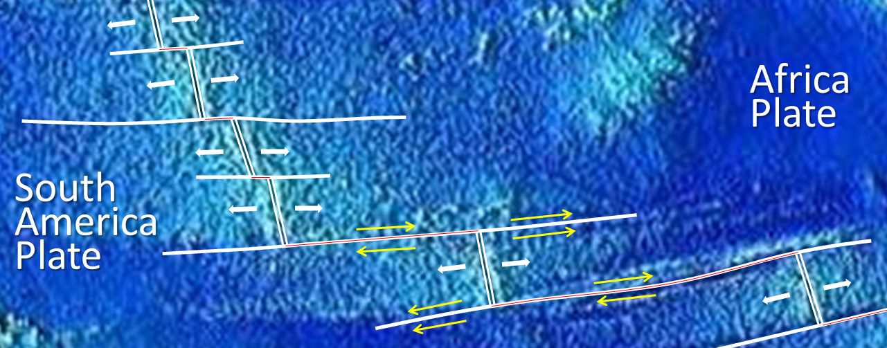 Figure 4.17 A part of the mid-Atlantic ridge near the equator. The double white lines are spreading ridges. The solid white lines are fracture zones. As shown by the yellow arrows, the relative motion of the plates on either side of the fracture zones can be similar (arrows pointing the same direction) or opposite (arrows pointing opposite directions). Transform faults (red lines) are in between the ridge segments, where the yellow arrows point in opposite directions. [SE]