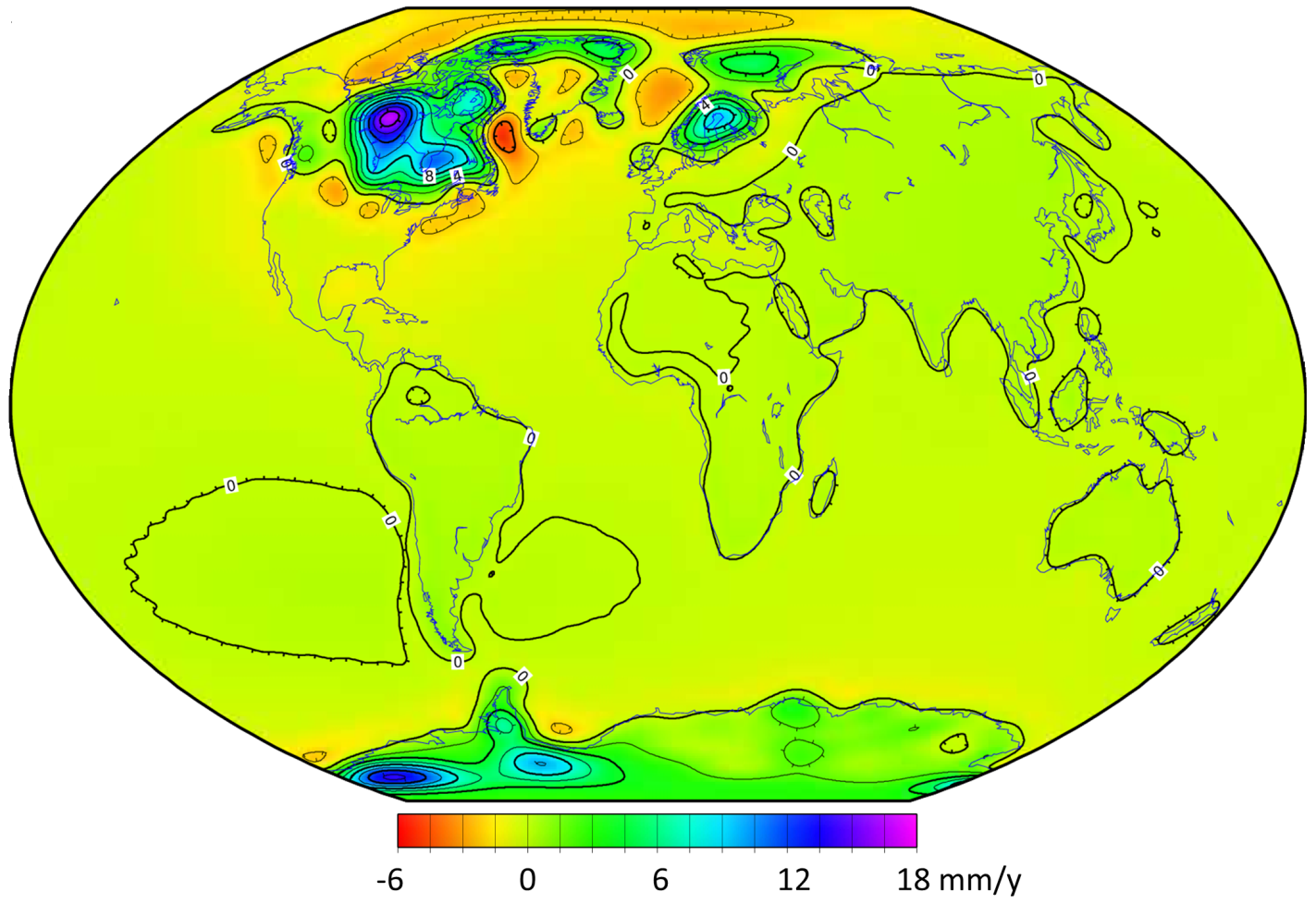 The current rates of post-glacial isostatic uplift (green, blue, and purple shades) and subsidence (yellow and orange). Subsidence is taking place where the mantle is slowly flowing back toward areas that are experiencing post-glacial uplift. [SE after Paulson, A., S. Zhong, and J. Wahr. Inference of mantle viscosity from GRACE and relative sea level data, Geophys. J. Int. (2007) 171, 497–508. NASA, Public Domain, http://bit.ly/1Z81owj]