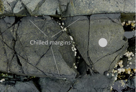 A mafic dyke with chilled margins within basalt at Nanoose, B.C. The coin is 24 mm in diameter. The dyke is about 25 cm across and the chilled margins are 2 cm wide. [SE]