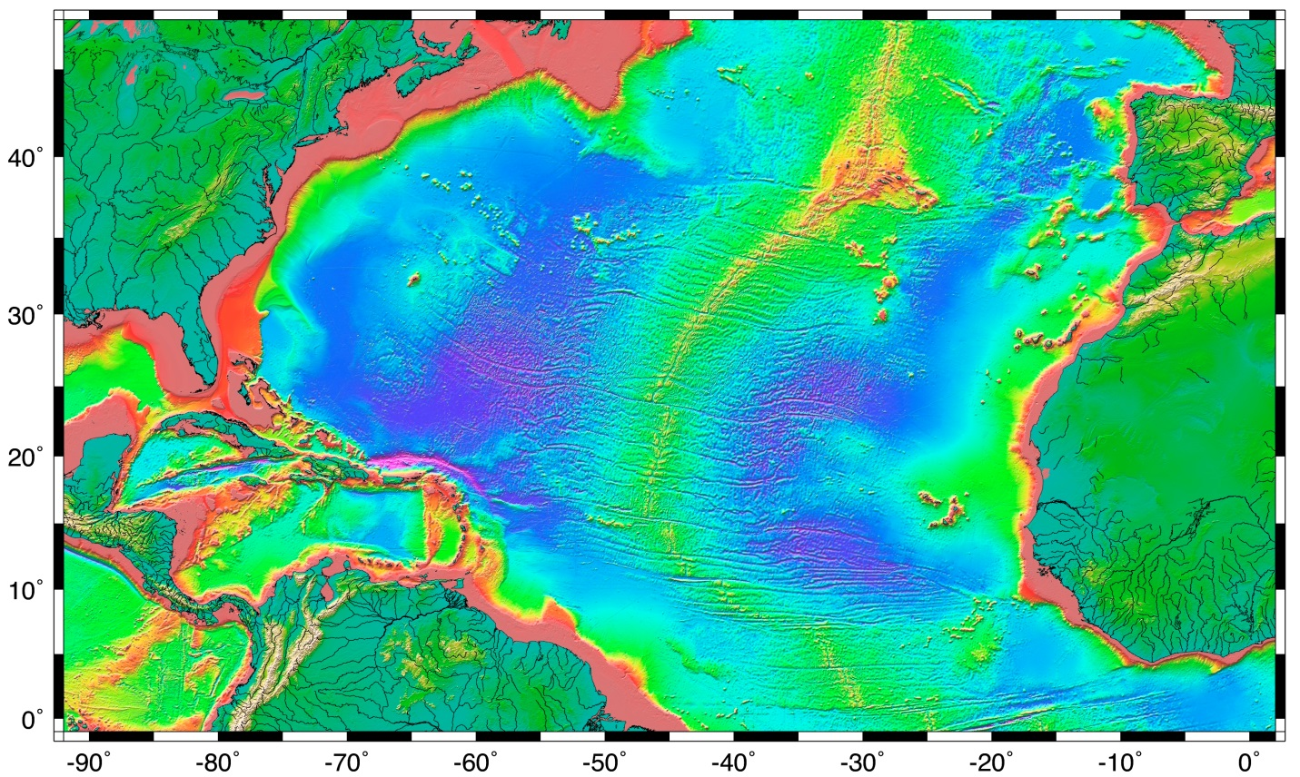 Ocean Floor Elevation Map : The topography of sea floor physical geology
