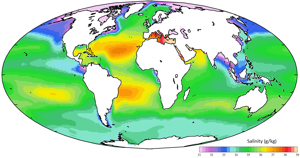 Figure 18.13 The distribution of salinity in Earth's oceans and major seas [https://upload.wikimedia.org/wikipedia/commons/d/d5/WOA09_sea-surf_SAL_AYool.png]