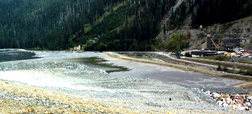 tailings pond at the Myra Falls Mine – Physical Geology