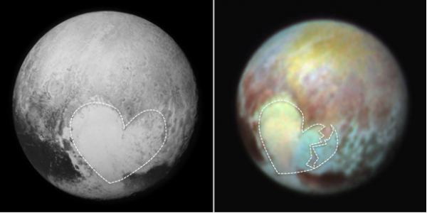 Figure 22.10 Photographs of Pluto. Left: The heart-shaped region called Tombaugh Regio is outlined. This region is named after Pluto's discoverer Clyde Tombaugh [KP, NASA/APL/SwRI , http://1.usa.gov/1MOuT3m]. Right: False-colour images show compositional variations in Tombaugh Regio. [KP, NASA/APL/SwRI , http://1.usa.gov/1SO9bBu]