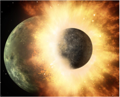 Figure 22.11 Artist's impression of a collision between planets. A similar collision between Earth and the planet Theia might have given us our moon. Fortunately for us, the collision that gave us the moon was a glancing blow rather than the direct hit shown here. Earth might not have survived a direct hit. [NASA/ JPL-Caltech, http://1.usa.gov/1IkP069]