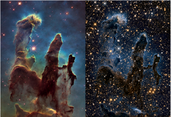 Figure 22.5 Photograph of a nebula. The Pillars of Creation within the Eagle Nebula viewed in visible light (left) and near infrared light (right). Near infrared light captures heat from stars, and allows us to view stars that would otherwise be hidden by dust. This is why the picture on the right appears to have more stars than the picture on the left. [NASA, ESA, and the Hubble Heritage Team (STScI/AURA) http://bit.ly/1Dm2X5a]