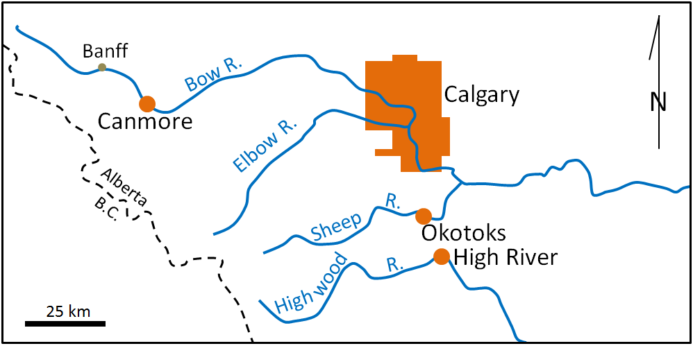 Figure 13.27 Map of the communities most affected by the 2013 Alberta floods (in orange) [SE]