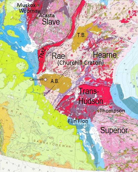 Figure 21.5 Geological features of the Canadian Shield of western Canada. A.B.: Athabasca Basin, T.B.: Thelon Basin, and TMZ: Taltson Magmatic Zone [ By SE after: http://geoscan.nrcan.gc.ca/starweb/geoscan/servlet.starweb?path=geoscan/fulle.web&search1=R=208175]