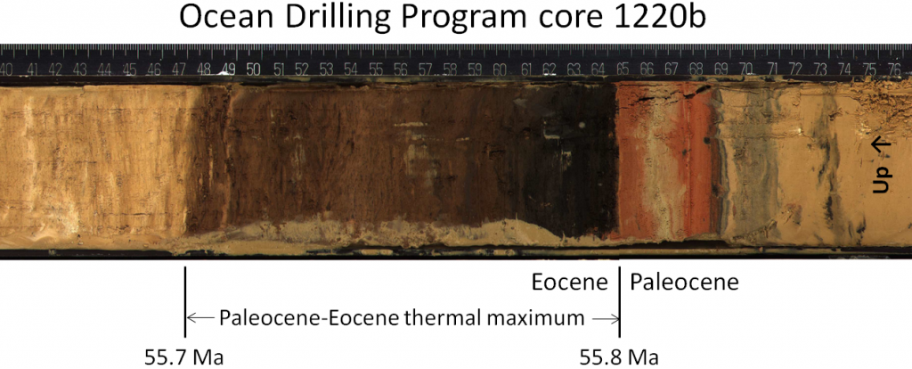 Figure 19.1 Core from Ocean Drilling Program hole 1220b (southeast of Hawaii) showing the boundary between the Paleocene and the Eocene (at 55.8 Ma). Marine life was decimated during the 100,000 years of the Paleocene-Eocene thermal maximum, and the dark part of the core represents the absence of carbonate sediment from planktonic organisms. The scale is in centimetres. [SE, after Ocean Drilling Program, used with permission]