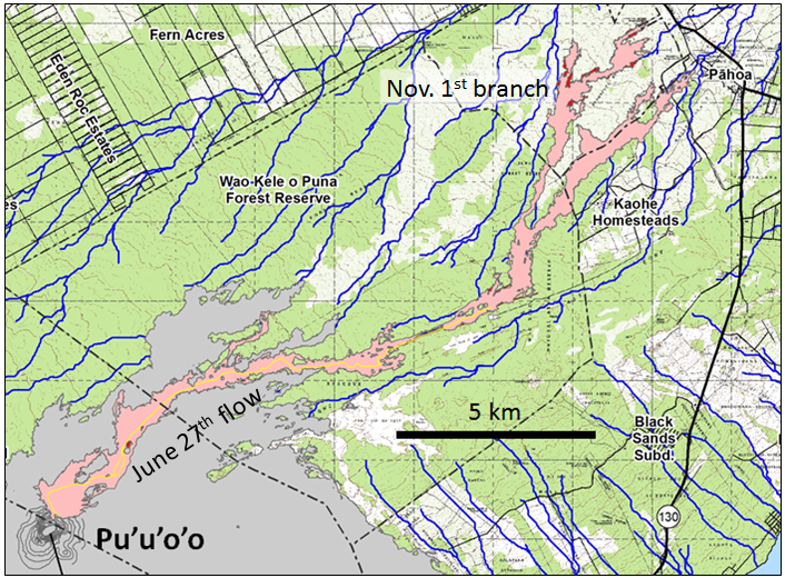 "The U.S. Geological Survey Hawaii Volcano Observatory (HVO) map shown here, dated January 29, 2015, shows the outline of lava that started flowing northeast from Pu'u 'O'o on June 27, 2004 (the ""June 27th Lava flow,"" a.k.a. the ""East Rift Lava Flow""). The flow reached the nearest settlement, Pahoa, on October 29, after covering a distance of 20 km in 124 days. After damaging some infrastructure west of Pahoa, the flow stopped advancing. A new outbreak occurred November 1, branching out to the north from the main flow about 6 km southwest of Pahoa."