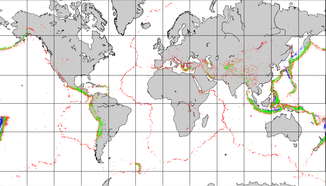 General distribution of global earthquakes