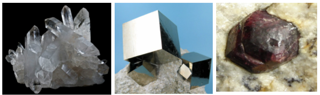 Figure 2.19 Hexagonal prisms of quartz (left), cubic crystals of pyrite (centre) and a dodecahedral crystal of garnet (right). Quartz Bresil by Didier Descouens is under CC BY 3.0 , Pyrite cubic crystals on marlstone by Carles Millan is under CC BY SA 3.0, Almandine garnet by Eurico Zimbres (FGEL/UERJ) and Tom Epaminondas (mineral collector) is under CC BY SA 2.0