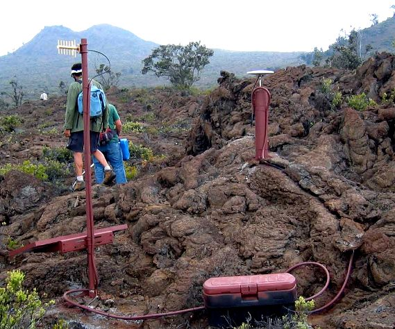 Photograph of a GPS unit installed at Hualalai volcano, Hawaii