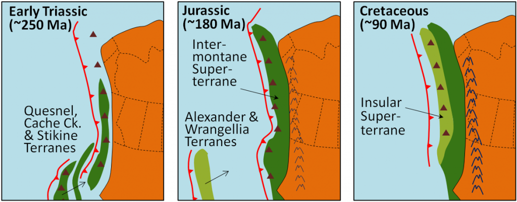 Figure 21.13 Model of the accretion of the Intermontane and Insular Superterranes to the west coast of North America during the Mesozoic. Subduction zones are the red-toothed lines. The brown triangles represent volcanoes. [SE]
