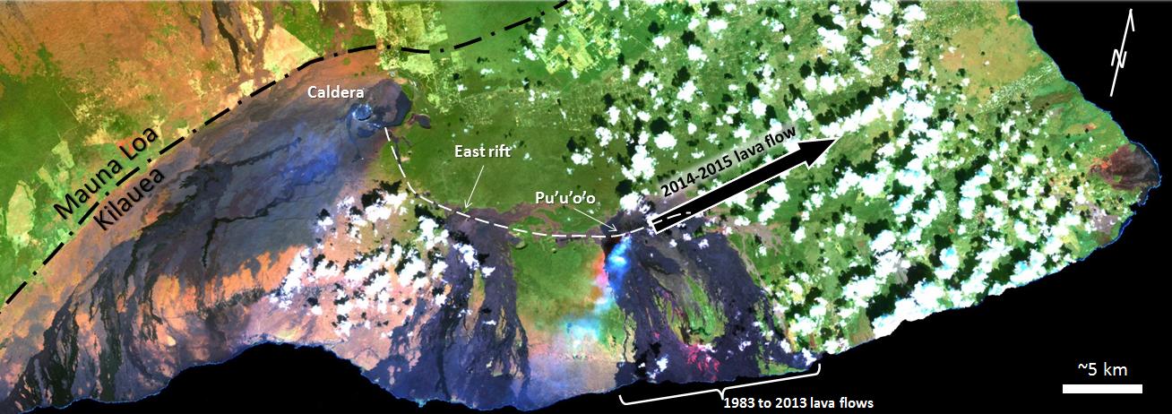 atellite imagen del volcán Kilauea que muestra la grieta Este y Pu'u 'O'o, el sitio de la erupción que comenzó en 1983.