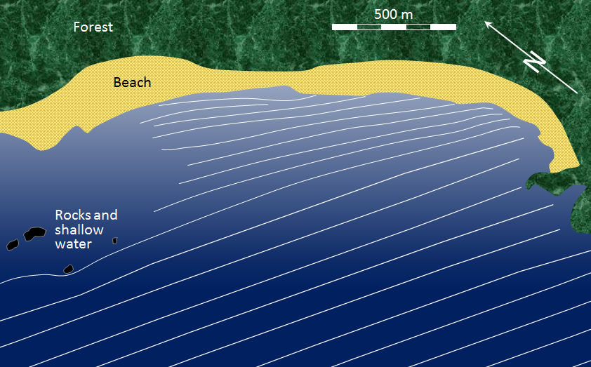 Figure 17.6 Waves approaching the shore of Long Beach in Pacific Rim National Park. As the waves (depicted by white lines) approach shore, they are refracted to become more parallel to the beach, and their wavelength decreases. [SE]