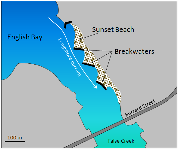 Figure 17.29 Map of the impact of breakwaters (or groynes) on beach formation at Sunset Beach, Vancouver [SE]
