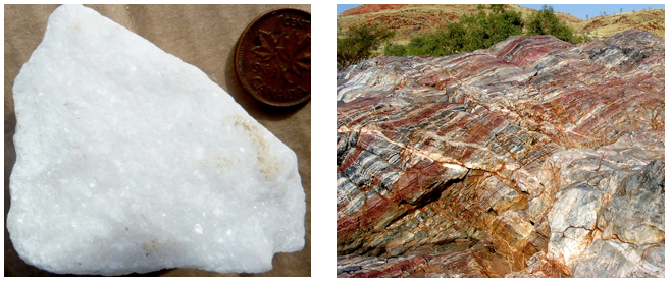 Figure 7.10 Marble with visible calcite crystals (left) and an outcrop of banded marble (right) [SE (left) and http://gallery.usgs.gov/images/08_11_2010/a1Uh83Jww6_08_11_2010/large/DSCN2868.JPG (right)]