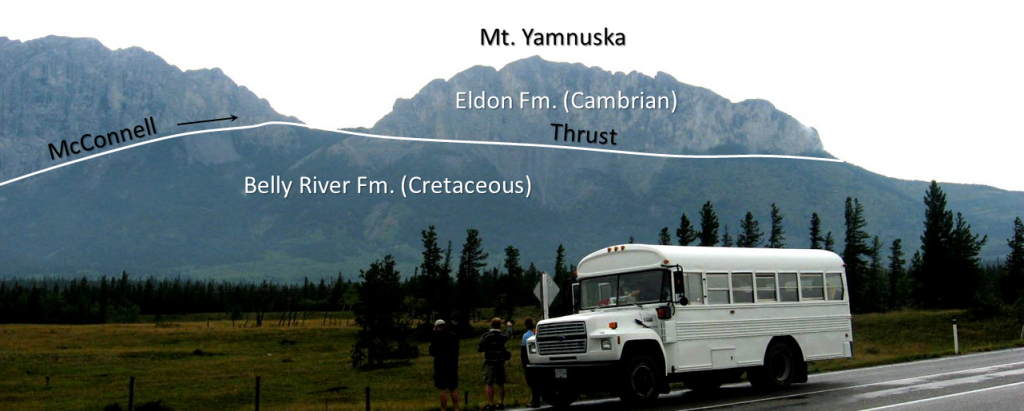 Figure 21.18 The McConnell Thrust at Mt. Yamnuska near Exshaw, Alberta. Carbonate rocks of Cambrian age have been thrust over top of Cretaceous mudstone. [SE]