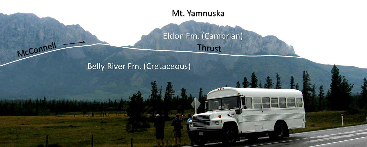 Figure 12.17  The McConnell Thrust at Mt. Yamnuska near to Exshaw, Alberta. Carbonate rocks (limestone) of Cambrian age have been thrust over top of Cretaceous mudstone.  [SE]