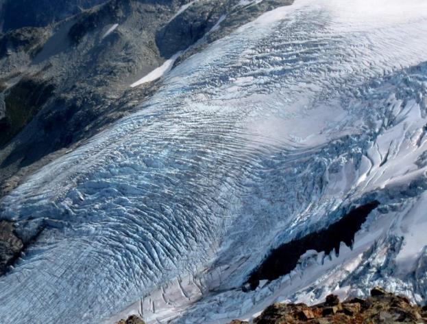 Figure 16.14 Crevasses on Overlord Glacier in the Whistler area, B.C. [Isaac Earle, used with permission]