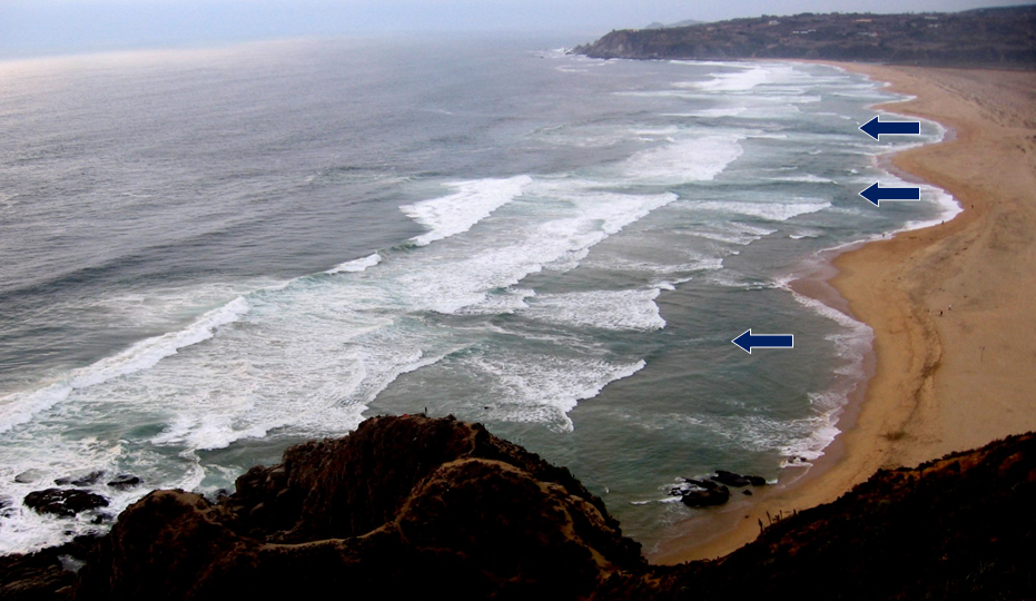 Figure 17.10 Rip currents on Tunquen Beach in central Chile [From NOAA http://www.ripcurrents.noaa.gov/images/Tunquen_Chile.jpg]