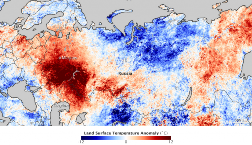 Figure 19.20 Temperature anomalies across Russia and neighbouring regions during July 2010 [http://earthobservatory.nasa.gov/IOTD/view.php?id=45069]