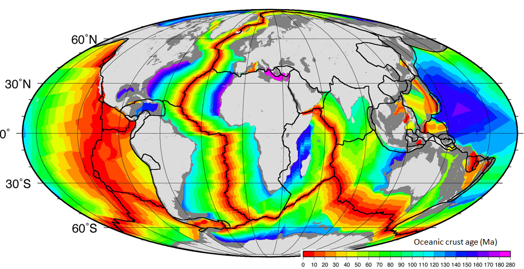 Figure 18.7 The age of the oceanic crust [SE after NOAA at http://www.ngdc.noaa.gov/mgg/ocean_age/data/2008/image/age_oceanic_lith.jpg]