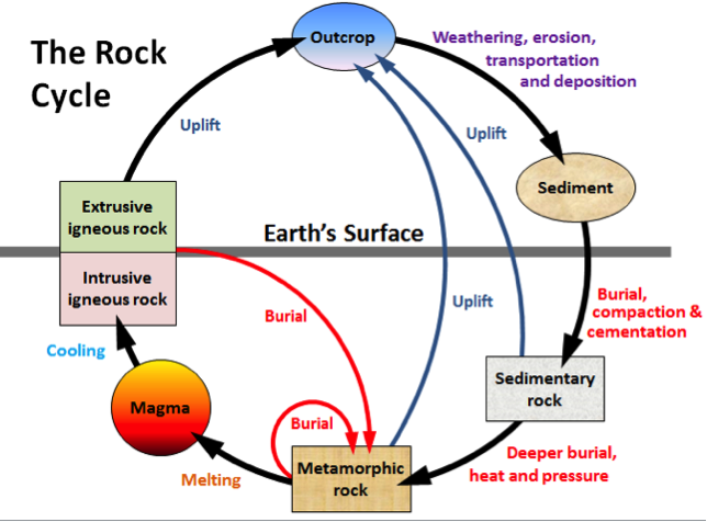 Figure 6.2 The rock cycle, showing the processes related to sedimentary rocks on the right-hand side.