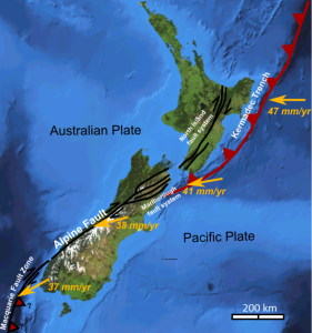 This map shows the plate tectonic situation in the area around New Zealand.