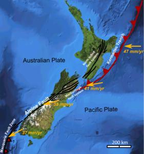 Este mapa muestra la situación de las placas tectónicas en el área de Nueva Zelanda.