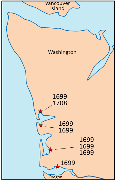 Figure 8.18 Sites in Washington where dead trees are present in coastal flats. The outermost wood of eight trees was dated using dendrochronology, and of these, seven died during the year 1699, suggesting that the land was inundated by water at that time. [SE from data in Yamaguchi, D.K., B.F. Atwater, D.E. Bunker, B.E. Benson, and M.S. Reid. 1997. Tree-ring dating the 1700 Cascadia earthquake. Nature, Vol. 389, pp. 922 - 923, 30 October 1997.]