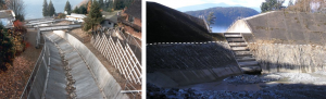 Figure 15.22 Two strategies for mitigating debris flows on the Sea-to-Sky Highway. Left: A concrete –lined channel on Alberta Creek allows debris to flow quickly through to the ocean. Right: A debris-flow catchment basin on Charles Creek. In 2010, a debris flow filled the basin to the level of the dotted white line. [SE]