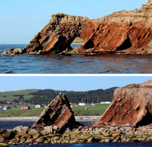 Figure 17.14 Top: An arch in tilted sedimentary rock at the mouth of the Barachois River, Newfoundland, July 2012. Bottom: The same location in June 2013. The arch has collapsed and a small stack remains. [Photo: Dr. David Murphy, used with permission]