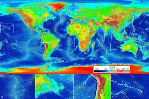 Figure 10.8 Ocean floor bathymetry (and continental topography). Inset (a): the mid-Atlantic ridge, (b): the Newfoundland continental shelf, (c): the Nazca trench adjacent to South America, and (d): the Hawaiian Island chain. [SE after NOAA, http://upload.wikimedia.org/wikipedia/commons/9/93/Elevation.jpg]