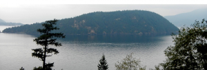 Figure 16.24 Bowyer Island, a drumlin in Howe Sound, B.C. Ice flow was from right to left. [SE]