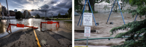 Figure 13.28 Flooding in Calgary (June 21, left) and Okotoks (June 20, right) during the 2013 southern Alberta flood [http://upload.wikimedia.org/wikipedia/commons/6/6a/Riverfront_Ave_Calgary_Flood_2013.jpg http://upload.wikimedia.org/wikipedia/en/9/9b/Okotoks_-_June_20%2C_2013_-_Flood_waters_in_local_campground_playground-03.JPG]