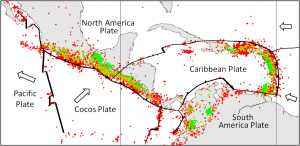 Figure 11.9 Distribution of earthquakes of M4 and greater in the Central America region from 1990 to 1996 (red: 0-33 km, orange: 33-70 km, green: 70-300 km, blue: 300-700 km) (Spreading ridges are heavy lines, subduction zones are toothed lines, and transform faults are light lines.) [SE after Dale Sawyer, Rice University, http://plateboundary.rice.edu]