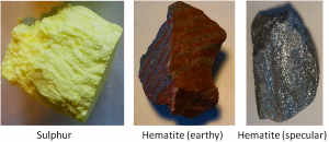Figure 2.16 Examples of the colours of the minerals sulphur and hematite