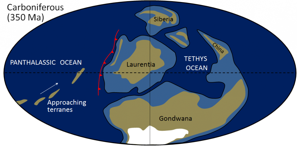 Figure 21.11 The distribution of continents in the early Carboniferous, showing the terranes that later became attached to the west coast of North America. The light blue areas are continental shelves, the white is ice of the Karoo Glaciation, and the red line shows subduction of oceanic crust beneath Laurentia. Panthalassic is the name for the huge ocean that preceded the Pacific Ocean. [SE based on information from Christopher Scotese at http://www.scotese.com/]
